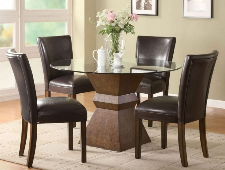 Furniture Awesome High Quality Leather In Wooden Uphostered Dining Chair Is Joined Well With Glass