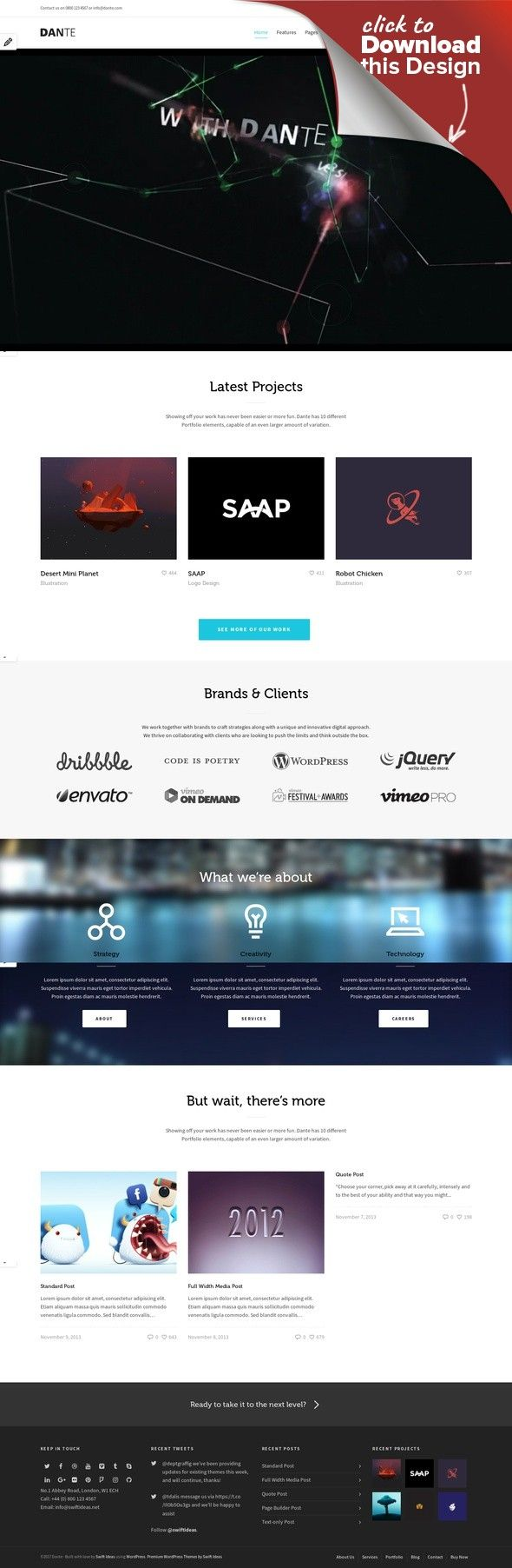 Dante - Responsive Multi-Purpose WordPress Theme business, clean, corporate, creative, ecommerce, ipad, iphone, minimal, one page, page builder, parallax, portfolio, responsive, retina, seo Dante – A Next-Level Multi-Purpose WordPress Theme. WordPress 4.8+ compatible Now translated to French, Spanish, German, Italian, Dutch, Brazilian Portugese, Russian, Polish, Bulgarian, and Swedish! Version 3.3.63 (18th July 2017) Dante is a clean, modern a...