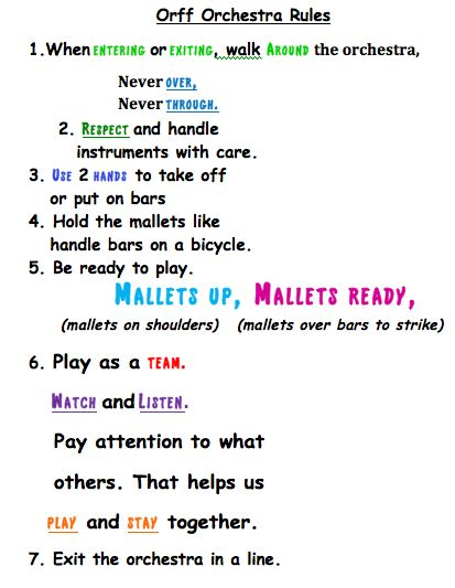 Rules for the Orff Orchestra in Your Classroom. Another freebie by mb2music
