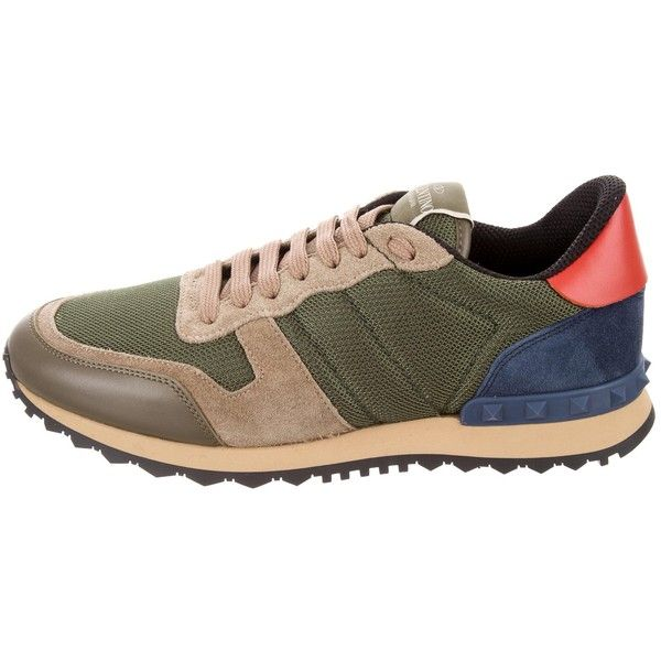 Pre-owned Valentino Rockrunner Low-Top Sneakers (8,460 MXN) ❤ liked on Polyvore featuring men's fashion, men's shoes, men's sneakers, blue, mens blue shoes, mens round toe dress shoes, valentino mens sneakers, mens multi colored shoes and mens mesh sneakers