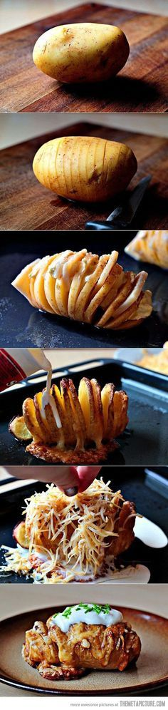 The Perfect Baked Potato. Slice potato almost but not all the way through. Tuck butter between slices. Bake until tender. Dribble with sour cream. Shower with grated cheese. Bake again until melted and gooey. Lavish with more sour cream and chopped scallion or crumbled bacon or chili or whatever you please.   best stuff