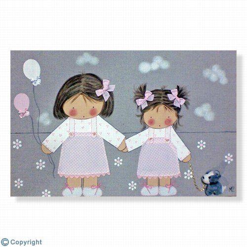 Cuadro infantil personalizado: Dos hermanitas (ref. 12079-01)