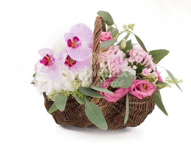 cos elegant, fermecator si diafan, plin cu lisianthus, bouvardia, hortensii si orhidee phalaenopsis
