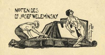 Bookplate by Tibor Bottik for  Josef Weleminsky, 1909
