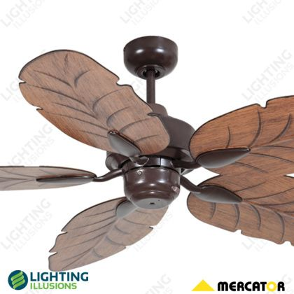 """Brown Cooya 52"""" ABS Moulded Leaf 5 Bladed Tropical Ceiling Fan - Shop - Lighting Illusions Online"""