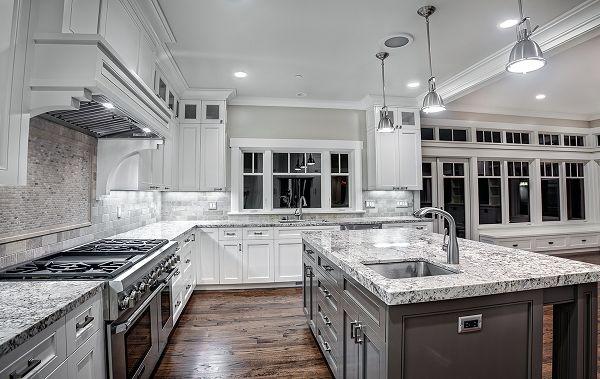 contemporary kitchen white ice granite countertops modern kitchen lighting white cabinets