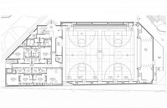 Gymnasium floor plan 1st floor of gym aca look pinterest for How to build a basketball gym