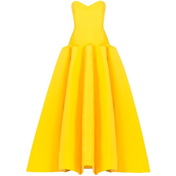 Zac Posen Strapless Gown ($11,150) ❤ liked on Polyvore featuring dresses, gowns, evening gowns, iltapuvut, yellow, corset style dress, yellow evening dress, yellow gown, corset ball gown and yellow evening gowns