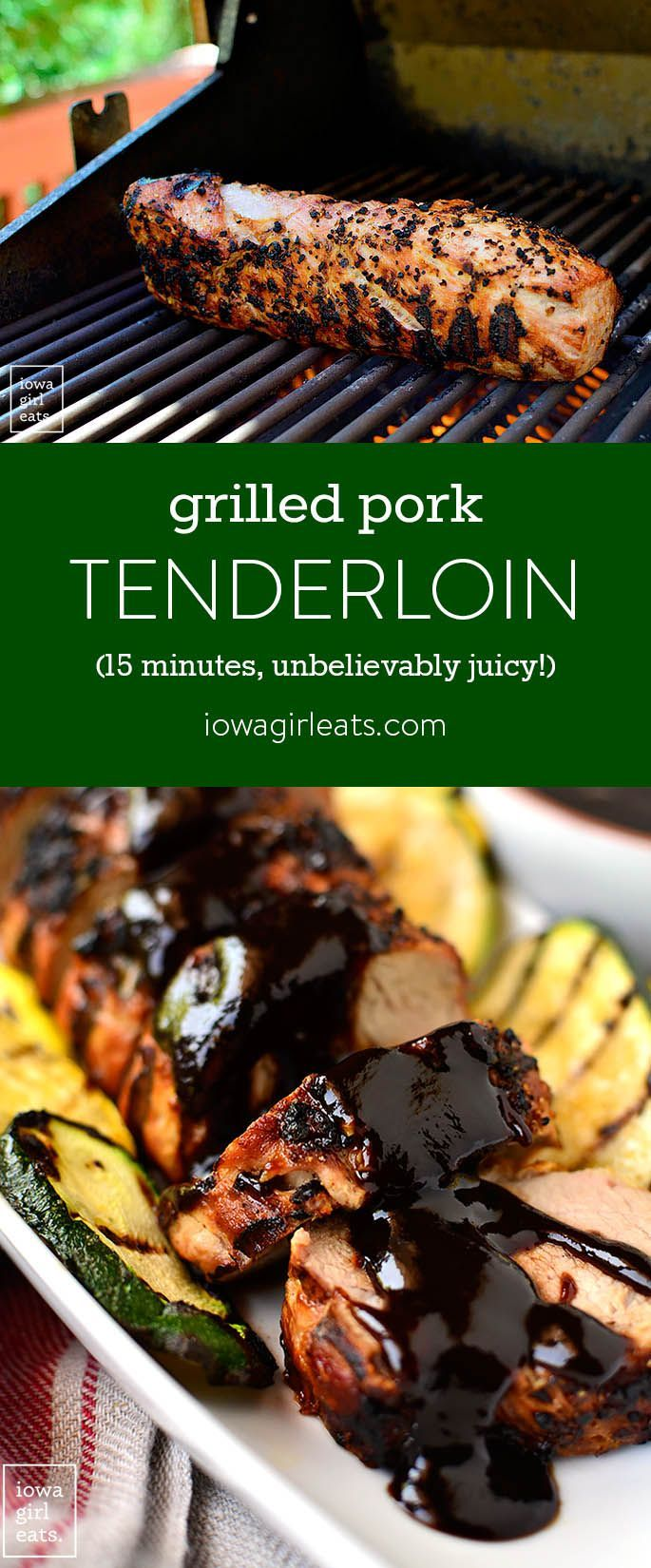 I'm sharing my method for the most unbelievably juicy grilled pork tenderloin, which cooks in under 15 minutes. A filling and healthy summer dinner!| iowagirleats.com