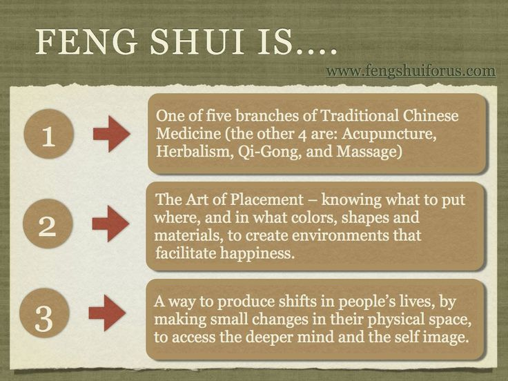 Feng Shui reads the signs in the environment to find out what is going on in people;s lives, and then suggests small changes that can be done in the space ...