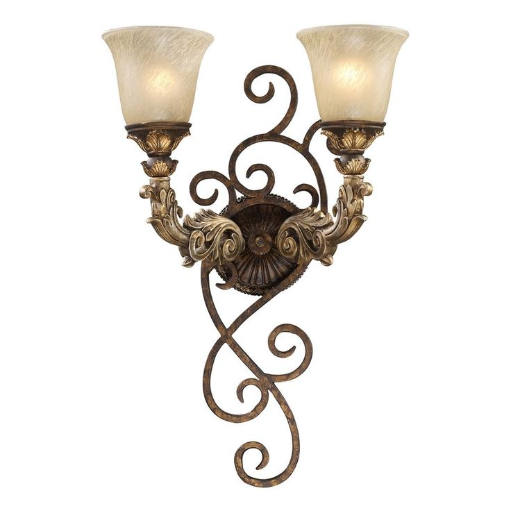 Sconce Wall Light with Beige / Cream Glass in Burnt Bronze Finish | 2155/2 | Destination Lighting