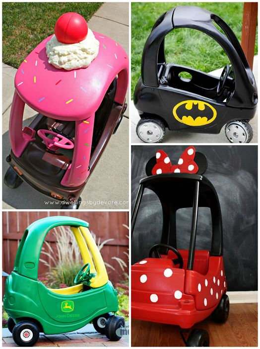 Every summer I love to go garage sale hunting and always see old dingy little tike cars! Now the next time I see one i'm going to bring it home and give it a makeover! I rounded up the most creative cozy coupes I could find on Pinterest so click on the links under the photos …