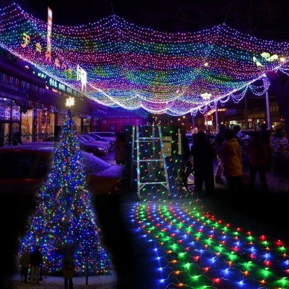 colorful 300 led net mesh decorative fairy lights twinkle lighting christmas wedding party eu