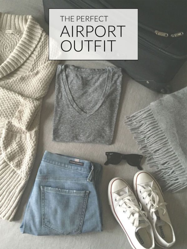 Travel fashion, airport outfit