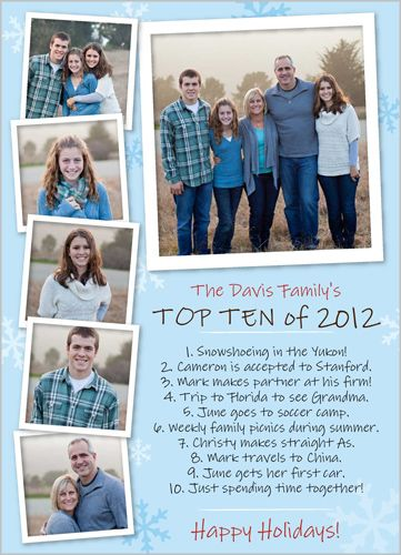Top ten of the year on Christmas card.