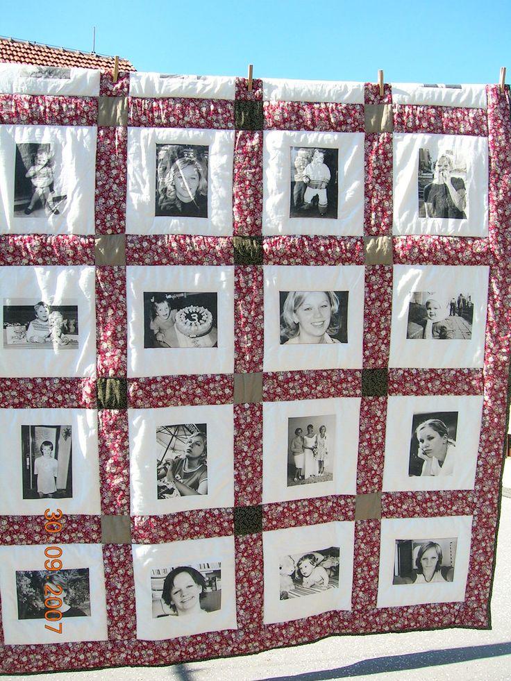 Vzpomínková deka Deka - fotoalbum - 20 fotografií nanesených na látku, rozměry deky 150 x 220 cm, 2 vrstvy, vatelín. Zhotovena ze 100% bavlny. Deka je prošívaná strojově. Skvělý dárek hlavně k významnému výročí nebo životnímu jubileu. Tato byla darována k 50. narozeninám mamince od jejích tří dcer.