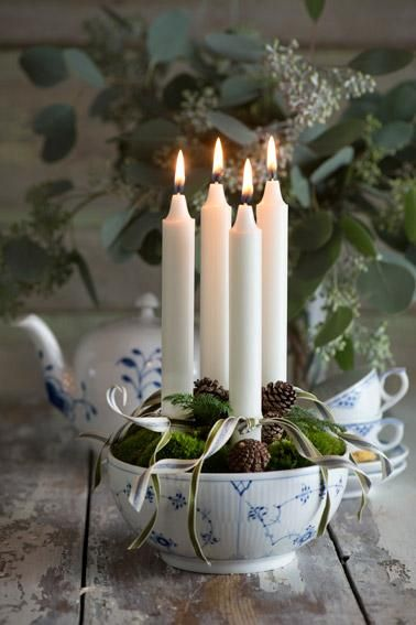 Advent candle holder - bowl with moss and candles - Christmas