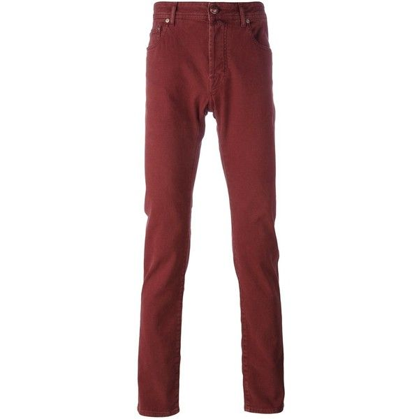 Jacob Cohen slim fit regular length jeans ($242) ❤ liked on Polyvore featuring men's fashion, men's clothing, men's jeans, red, mens slim jeans, mens slim fit jeans, mens slim cut jeans and mens red jeans