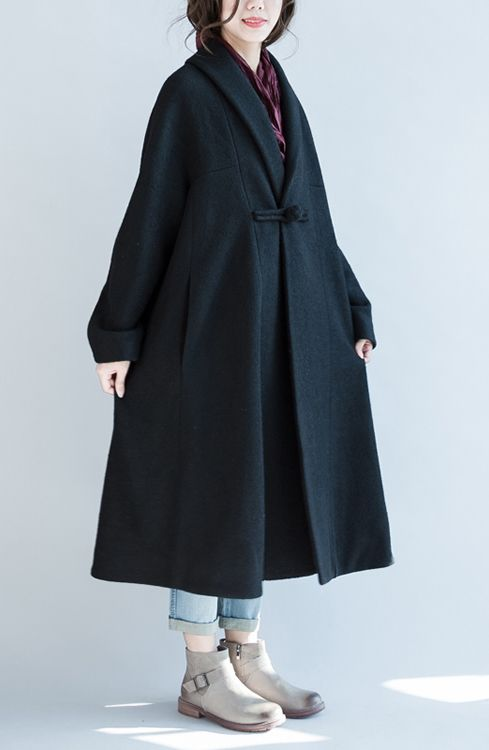 2016 black woolen cape coats plus size maxi coat trench windbreakers