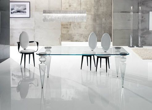 Traditional dining table gran canal 72 reflex angelo for Table a manger transparente