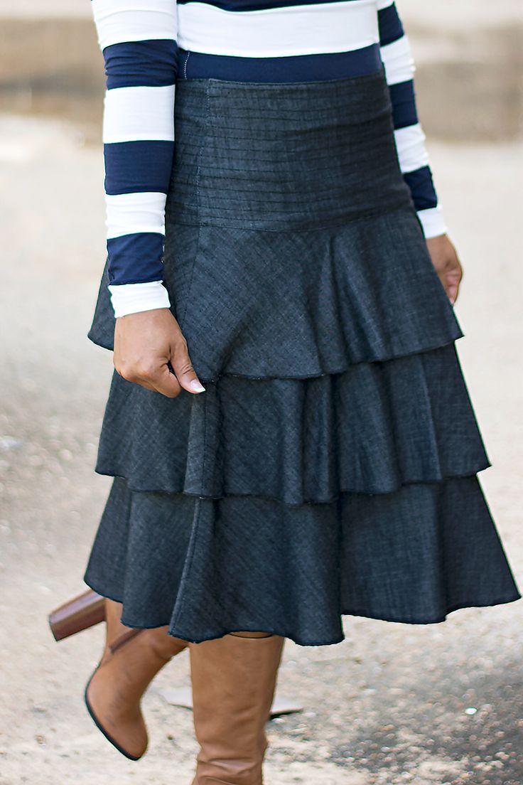 JM Layered Denim Skirt - Jade Mackenzie Modest Apparel