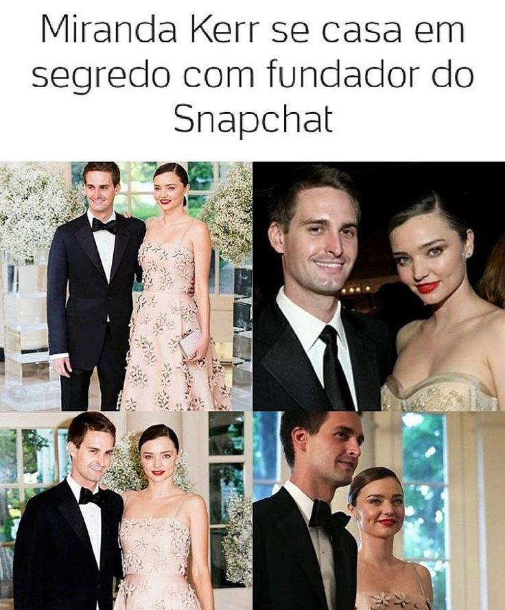 A modelo Miranda Kerr e Evan Spiegel, fundador e CEO do Snapchat, estão casados. Os dois oficializaram a união em segredo no último sábado (27) �������� #mirandakerr #snäpchat #snap #casamento #amor #celebridades #celebrity #famosos http://tipsrazzi.com/ipost/1525047259657730485/?code=BUqDmcRlPm1
