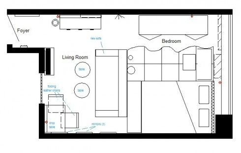200 sq ft Studio Apt Awesomeness | Ada's Interior Design -- Floor Plan