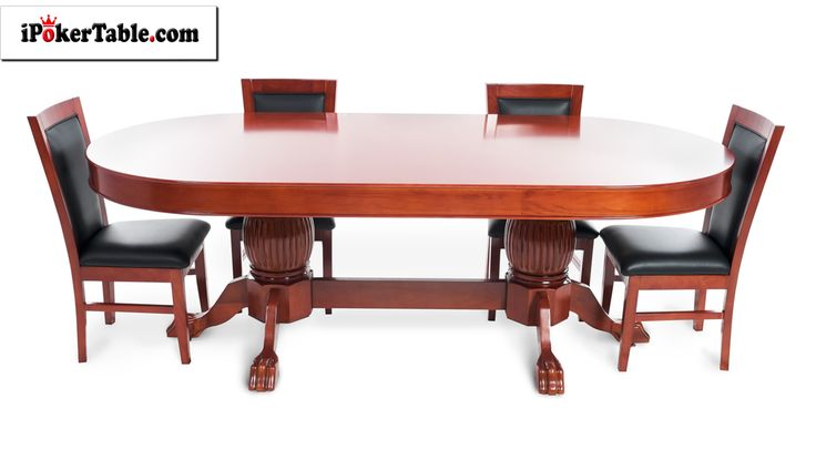 Rockwell Mahogany Oval 6 Person Poker Table with Dining Top and 6 Dining Chairs  Looking for a poker table with that timeless old world charm? Allow us to present the Rockwell. Pair it with a matching oval dining top in mahogany gloss and matching mahogany gloss dining chairs.  #ModernPokerTable #6PersonPokerTable #OvalPokerTable  https://www.ipokertable.com/products/rockwell-mahogany-oval-black-felt-6-person-poker-table-with-dining-top-and-6-dining-chairs