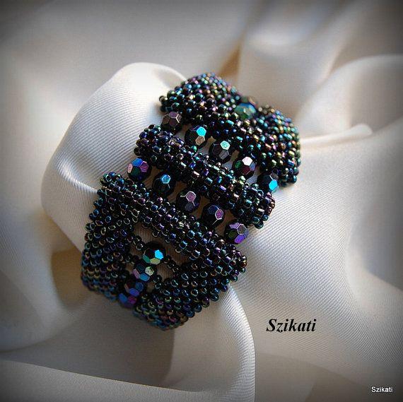 Beaded metallic dark blue bracelet Cuff bracelet Seed by Szikati