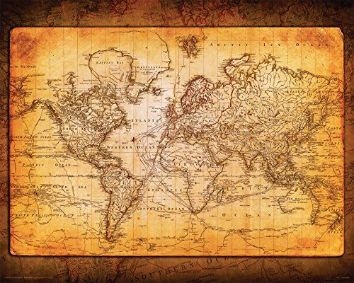 AmazonSmile: World Map Antique Vintage Old Style Decorative Educational Poster Print, 16x20 Unframed: Posters & Prints
