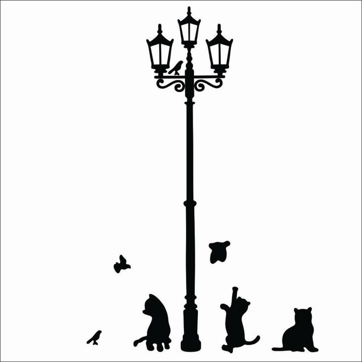 high quality Popular Ancient Lamp Cats and Birds Wall Sticker Wall Mural Home Decor Room Kids 030