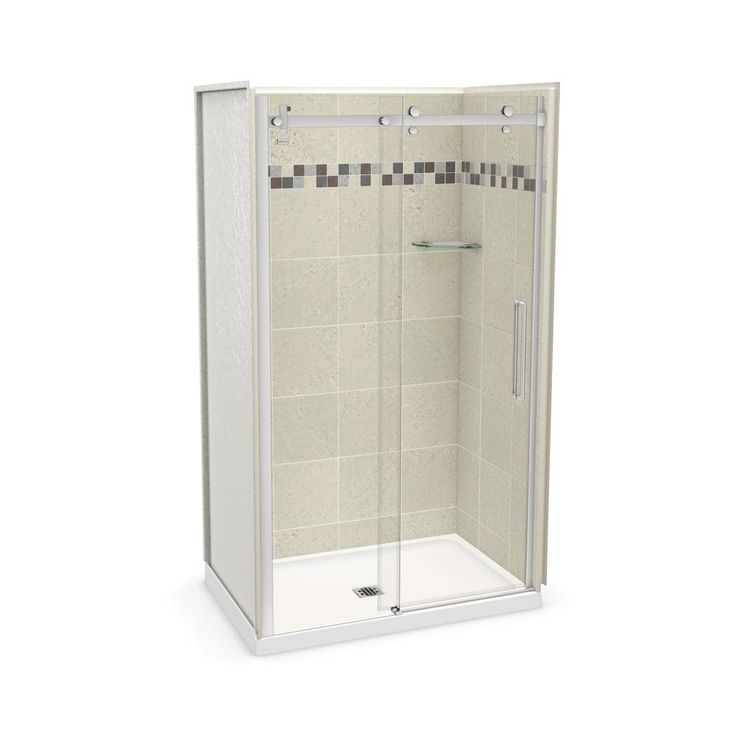 Maax Utile 48 Inch X 32 Inch Stone Sahara Corner Shower Kit With Chrome Door The Home Depot Canada Corner Shower Kits