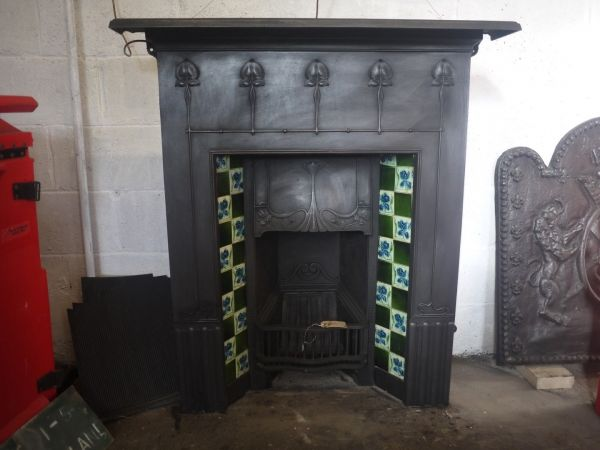 Victorian Art Nouveau Cast Iron Tiled Fireplace £750.00 UK & Worldwide Delivery Available