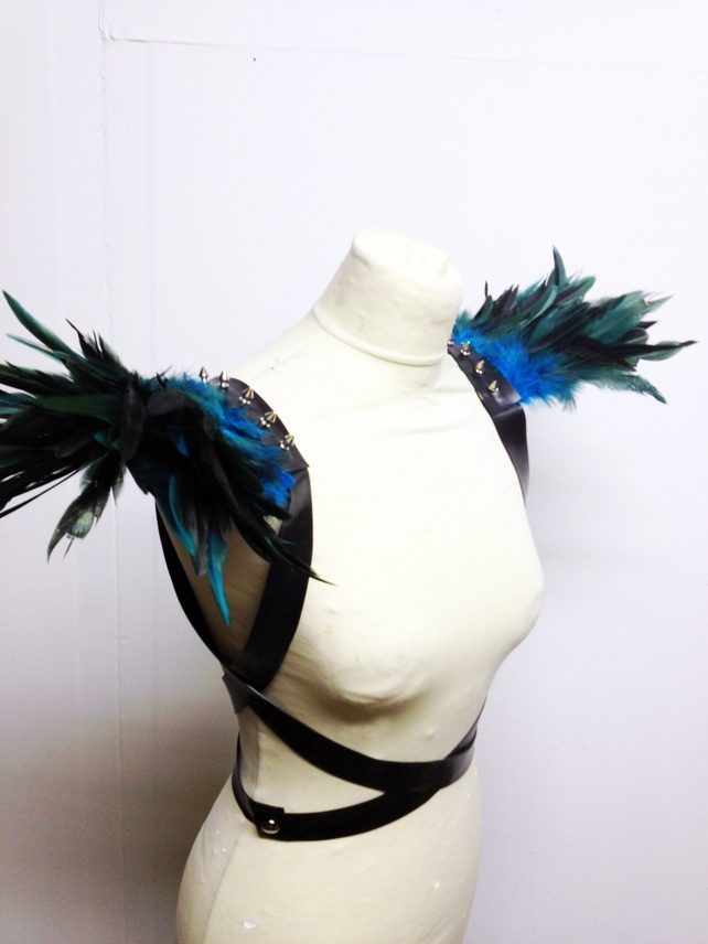 Latex burlesque fetish blue green studded feather Epaulettes shoulder pieces £65.00