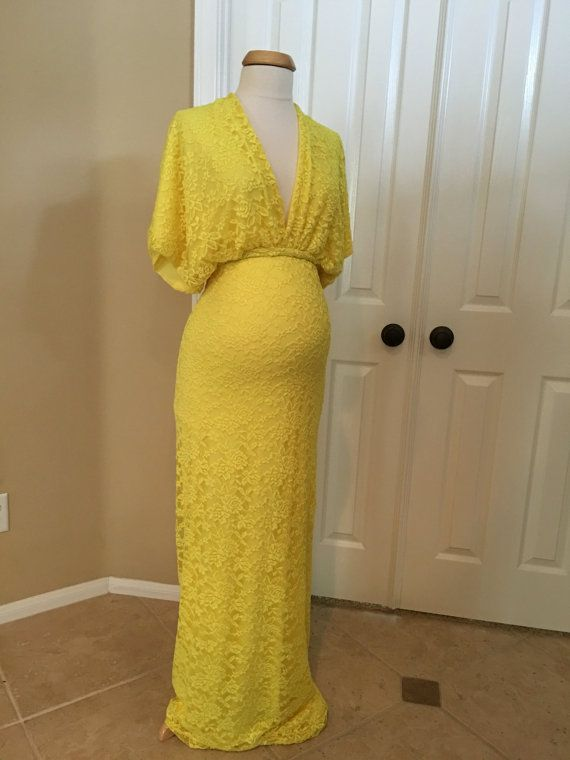 Yellow Lace Lining Closed Maternity Gown by BoutiqueByAgnes