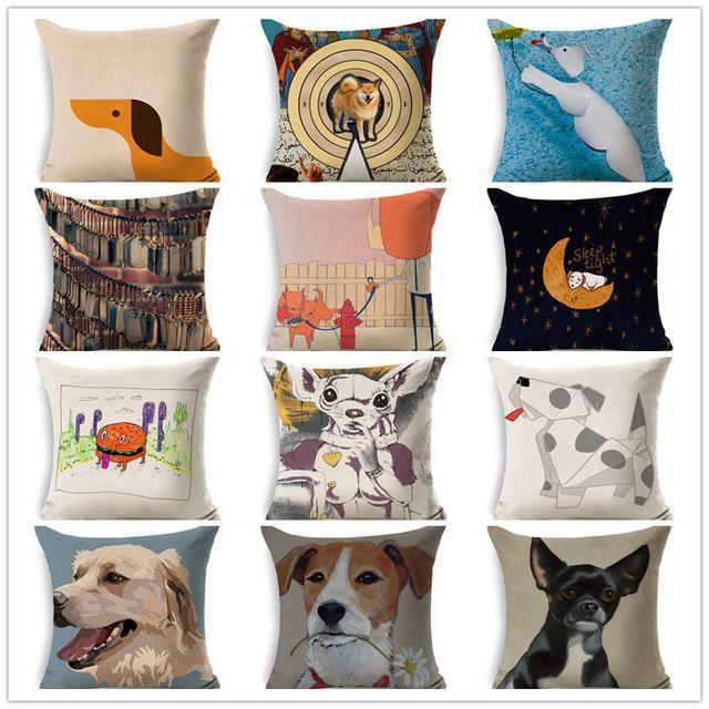 Чехлы симпатичные животные собаки щенок фотографии животных печати наволочки хлопок белье смесь наволочки диван кресло автомобиля декор