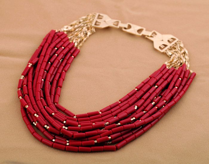 red necklace #watters #American #wedding