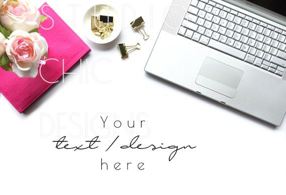 Styled Stock Photography - Styled Desktop - Pink and Gold - Macbook Computer Tech Image -017b