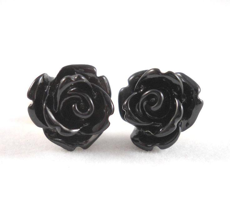 Black Rose Earrings Surgical Steel Posts for Sensitive Ears Black Flower Earings Gothic Jewelry Rose Stud Earrings Gothic Earrings for Teens by foreverandrea on Etsy