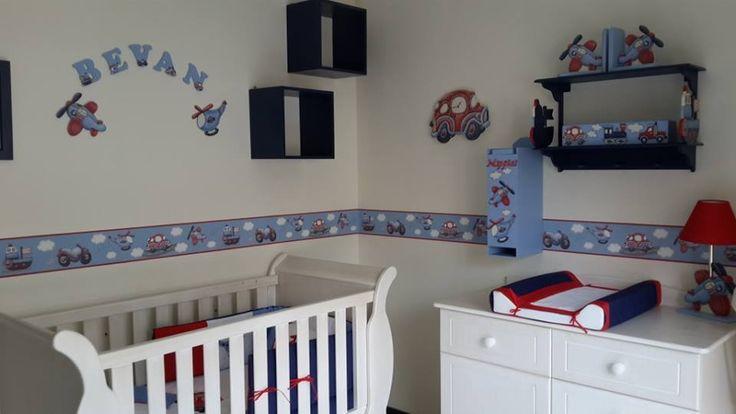 Boys transport nursery decor and nursery linen set.