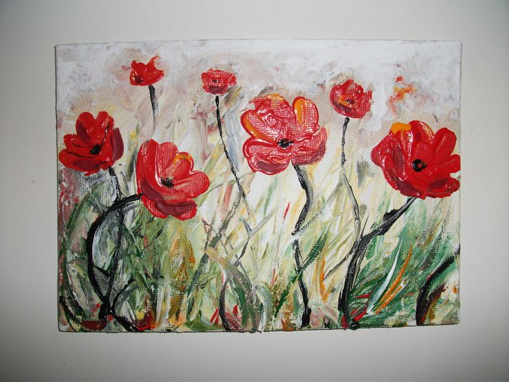 small acrylic painting of wild flowers small acrylic
