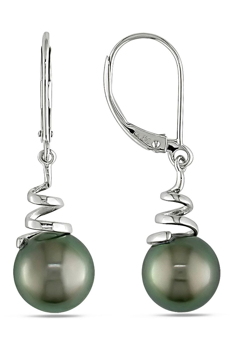 Tahitian Pearl 8-8.5mm Black Tahitian Pearl Earrings In 14k White Gold