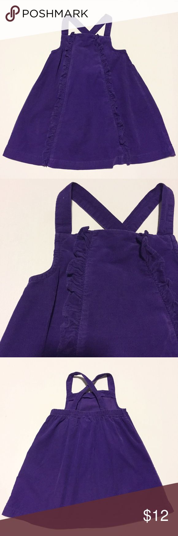Chaps Purple Jumper Size 4 Chaps Purple Jumper  Size 4/4T Classic purple Corduroy jumper dress.  Ruffles from too to bottom hem. Straps are adjustable (2 button holes) and can be crossed as shown or left straight for additional length. EUC  Smoke-free, pup-friendly home. Cross-posted Chaps Dresses Casual