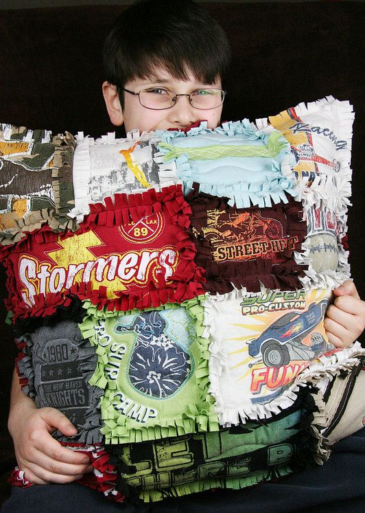 "Tshirt-Rag-Quilt-Pillow-- I love this idea ~ I hate passing along some of the boys ""favorite"" t-shirts what an awesome way to hold on to those little boy first favorite things"