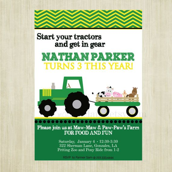 8 best Tractor Party images – John Deere Printable Birthday Invitations