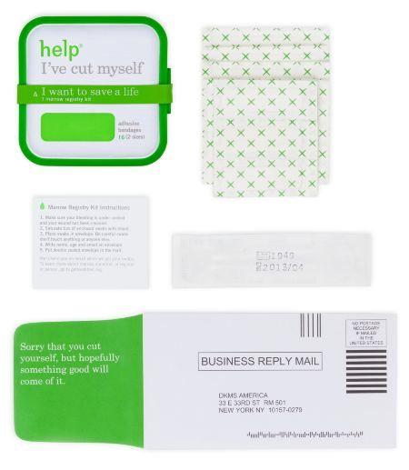 The Next Time You Cut Your Finger, Save a Life / teste para compatibilidade de doação de medula que vai junto com o Band Aid #genio http://www.helpineedhelp.com/#/marrow