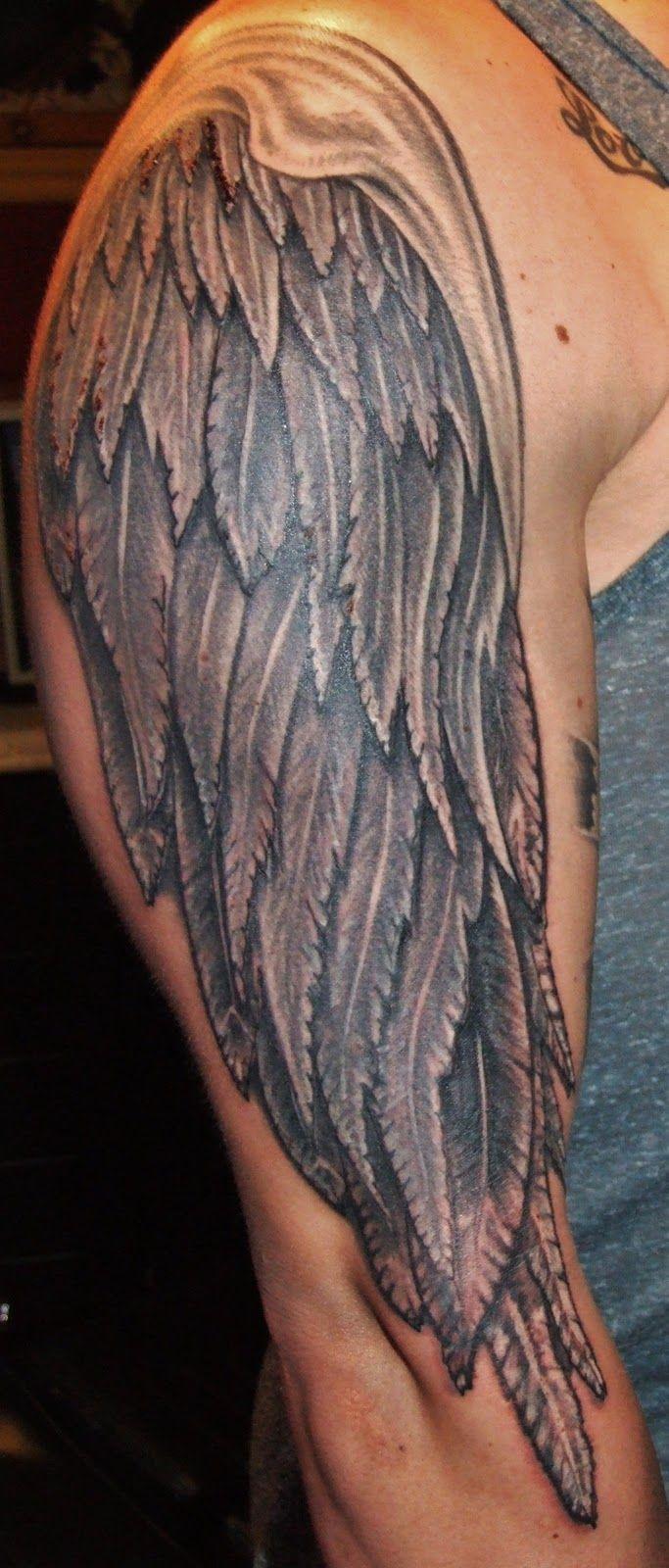 tattoos of wings full arm tattoo   Grey Ink Angel Wings ...