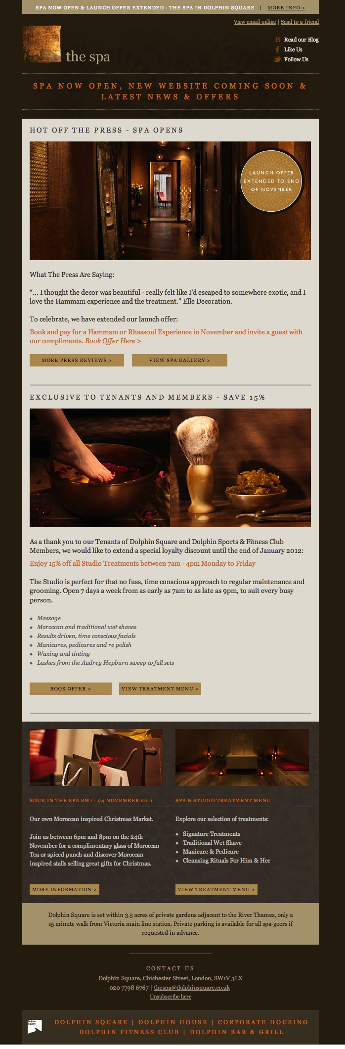 Our design for Dolphin Spa email newsletter - gorgeous Moroccan spa near Victoria