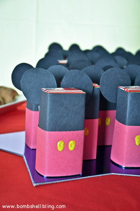 AMAZING Disney birthday party with TONS of ideas!  Love these Mickey Mouse juice boxes!