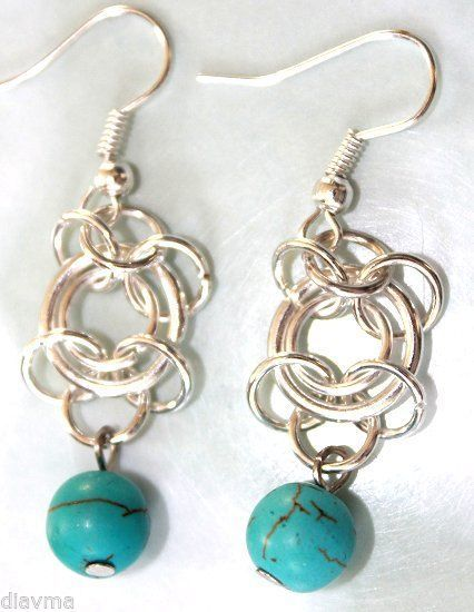 turquoise Chainmaille earrings